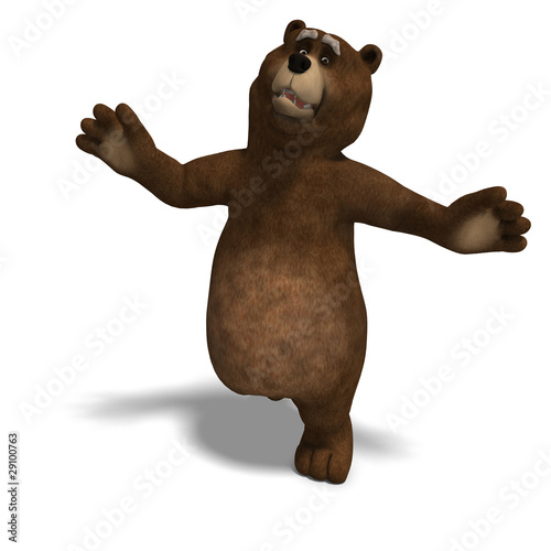 cute and funny toon bear. 3D rendering with clipping path and