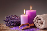 Fototapety Spa still life with candles and lavender
