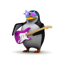 3d Penguin superstar funk rock guitar god