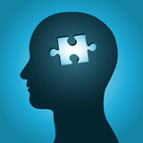 Fototapety man head silhouette with missing jigsaw puzzle peace