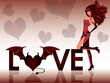 Love devil. Greeting card with beautiful girl. vector