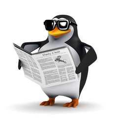 3d Penguin reads the newspaper