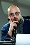 Portrait of a bald writer
