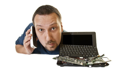 Man with destroyed computer contacts support