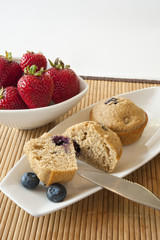 Blueberry Muffins with Bowl of Strawberries