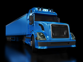 Heavy blue truck isolated on black