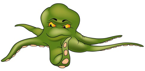Green Octopus - colored cartoon illustration