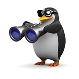 Penguin looks through his binoculars
