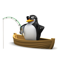 Penguin fishing from his dinghy