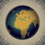 Vintage world map designed banner. poster