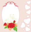 Bouquet of roses and lilies in the decorative frame with hearts