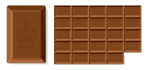 Realistic vector chocolate bar isolated on white background.
