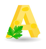 The alphabet from cheese. Sketchy letter A poster