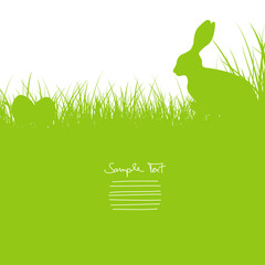 Bunny Sitting In The Meadow & Eggs Background