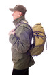 man with a rucksack on his back