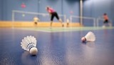 Fototapety badminton - badminton courts with players competing; shuttlecock