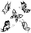 Set  black white butterflies of a tattoo - 29123319