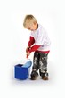 Little dirty worker with paint roller and blue pail