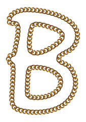 Like Golden Chain Isolated Alphabet Letter B