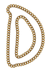 Like Golden Chain Isolated Alphabet Letter D