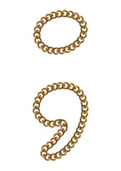Like Golden Chain Isolated Alphabet Dot and Comma