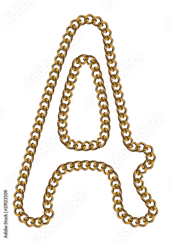 Like Golden Chain Isolated Alphabet Letter A