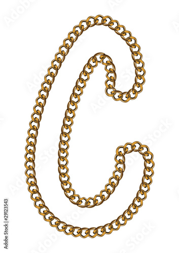 Like Golden Chain Isolated Alphabet Letter C