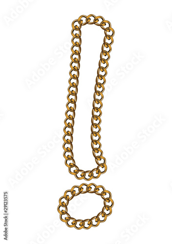 Like Golden Chain Isolated Alphabet Exclamation Mark