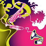 Conceptual psychedelic designed music banner. poster