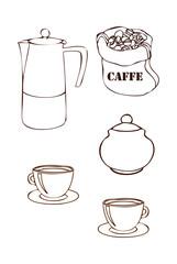 Caffettiera e tazzine di caffè
