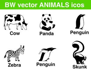 6 vector animals: panda, cow, penguins, zebra, skunk.