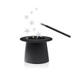 Vector magic hat and wand with sparkles