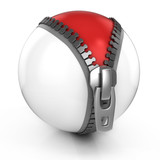 unzipped white ball revealing red ball beneath - 3d illustration poster