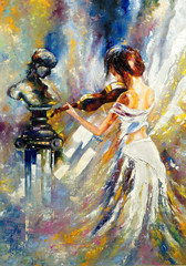 The girl playing a violin