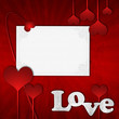 Red Valentine's day card with hearts and text love