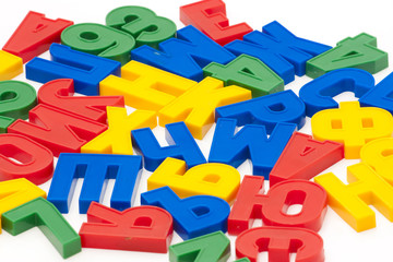 Color letters are spread out chaotically
