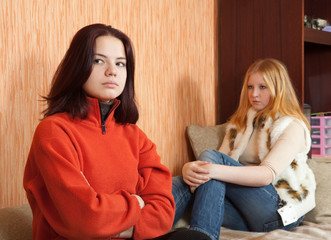 Girls after quarrel at home