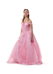 The girl in a pink ball dress