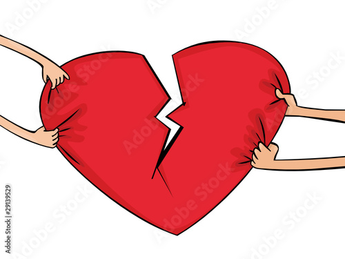Female and man's hands with heart