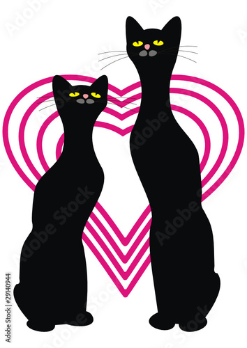 Two black cats and hearts. Love.