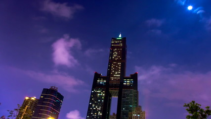 Kaohsiung City at night and cloud time-lapse video