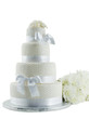 Wedding Cake With Flowers Isolated On White Background