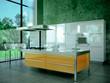 Küche 3d Rendering weiss orange 2