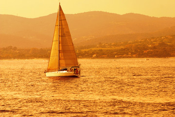 Sail during the sunset