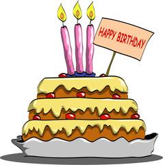 torta di compleanno a piani con candele