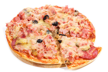 pizza with ham and salami