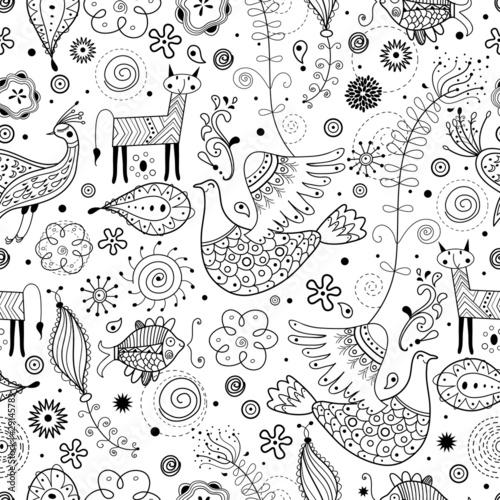Seamless graphic pattern of fabulous animals