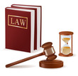 Judge gavel and law books and sandglass. Vector.