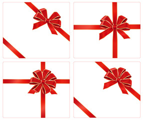 Collection of red gift bows with ribbons, vector