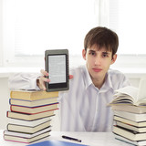 Student with ebook reader poster